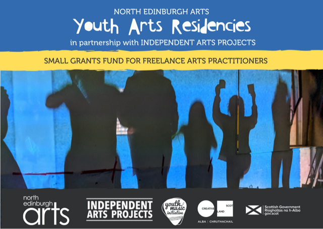 North Edinburgh Arts YOUTH ARTS RESIDENCIES (in partnership with IAP). Small Grants Fund for Freelance Arts Practitioners. Image: Shadows of multiple children jumping into the air, arms raised, against a vibrant blue wall. Logos are included for North Edinburgh Arts, Independent Arts Projects, Youth Music Initiative, Creative Scotland and Scottish Government.