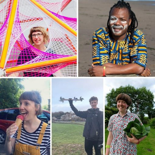 Header: composite image of the 5 selected artists for the NEA Youth Arts Residencies 2021-22